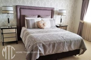 Taupe satin bedhead with black inset piping