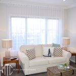 White s-fold sheer curtains
