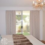 Beige trellis pattern blockout curtains