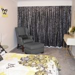 Black & silver box pleat curtains