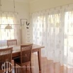 White box pleat sheer curtains with silver embroidery