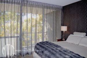 Silver box pleat sheer curtain