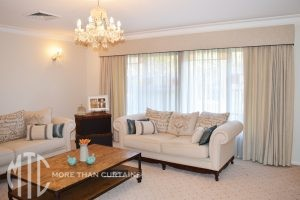 Blockout & sheer curtains with pelmets