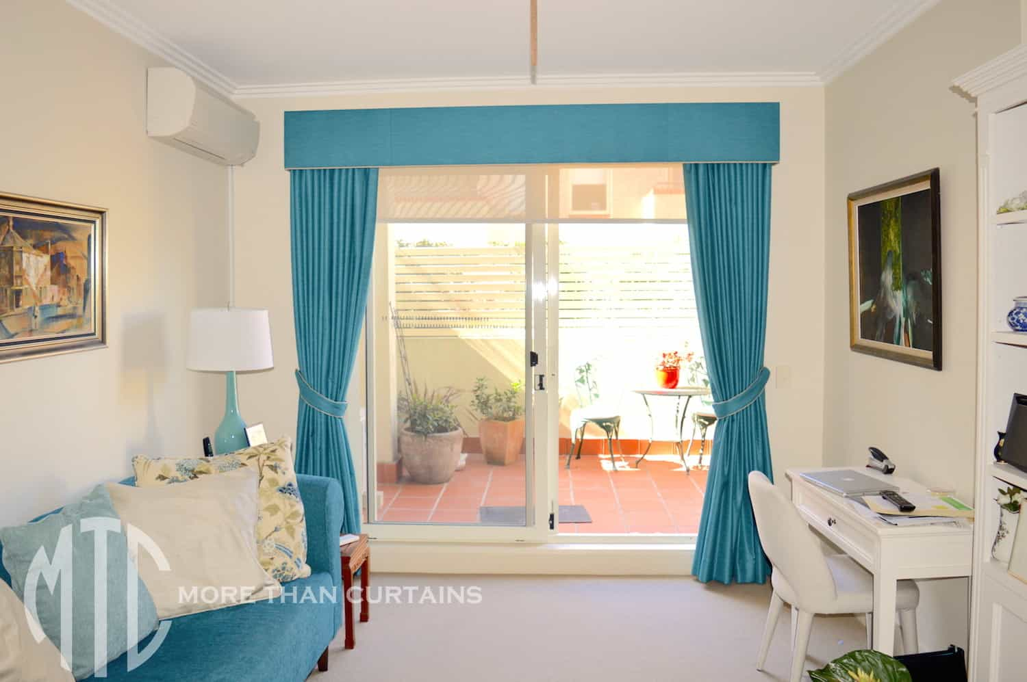 Teal blockout curtains with matching pelmet & tiebacks