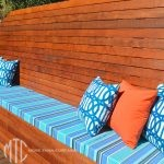 Blue, turquoise & orange outdoor cushions & banquette seat - Castle Hill