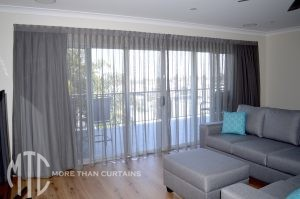 Sheer curtains with blockout lining - South Coogee
