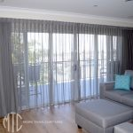 Sheer grey curtains with seperate lining
