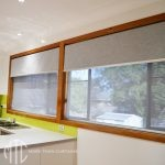 Grey double roller blinds