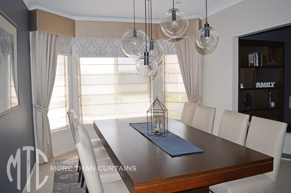 Double Roman Shade On Window : Double roman blinds with pelmets and side drapes on a bay