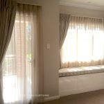 beige sheer & blockout curtains with trellis design window seat - Leppington