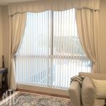 Blockout curtains with shaped pelmet & holdbacks