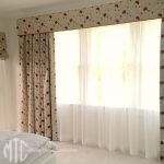 Embroidered curtains with pelmet