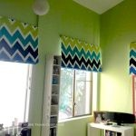Blue & green zig-zag Roman blinds