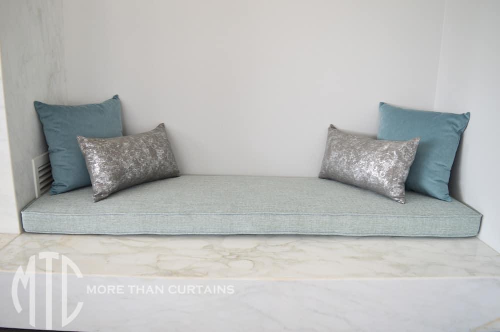 Teal, aqua & silver Banquette seat & cushions - Oakville