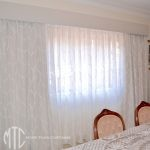 Patterned sheer curtains with blockout lining & Pelmet - West Ryde