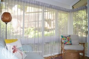 Box pleat sheer curtains