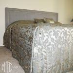 channel quilted bedspread with sham, cushions & stud inset bedhead