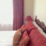 Red & gold damask cushions to match curtains
