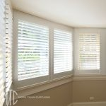 Plantation shutters on a bay window