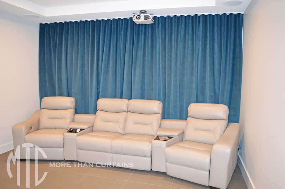 Teal velvet s-fold theatre curtains