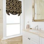 Black & gold damask Roman blind with swag base