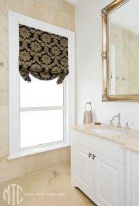 Swag base Roman blind in bathroom