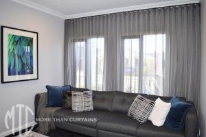 Charcoal s-fold sheer curtain
