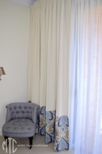 Curtains with patterned contrast hem - Pitt Town
