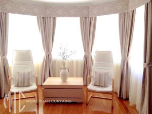 curtains, pelmets and tiebacks on a bay window - Kellyville