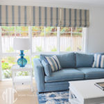 Blue & beige striped Roman blind