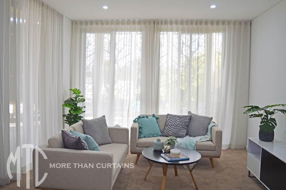 Grey s-fold sheer curtains