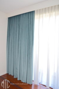 Painted pelmet with sheer & blockout curtains - Kellyville