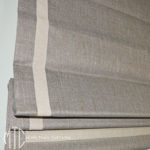 Taupe Roman blind with beige contrast inset