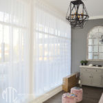 White sheer s-fold curtains