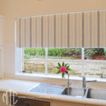 Blue stripe bonded roller blind