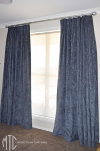 Triple pinch pleat velvet curtains on a hand painted timber rod - Glenorie
