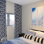 Charcoal & white patterned s-fold curtains