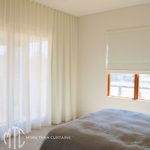 Ivory sheer s-fold curtain & Roman Blind coordinate