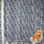 Navy blue palm leaf patterned S-fold curtain
