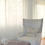 Grey s-fold sheer curtain