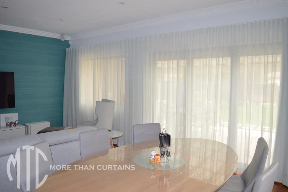 Grey s-fold sheer curtain