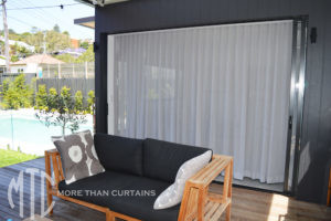 grey sheer s-fold curtains pool house - North Manly