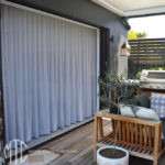 Sheer s-fold curtains pool house