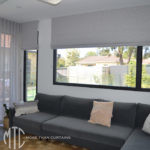 Sheer grey s-fold curtains with Roman Blind coordinate