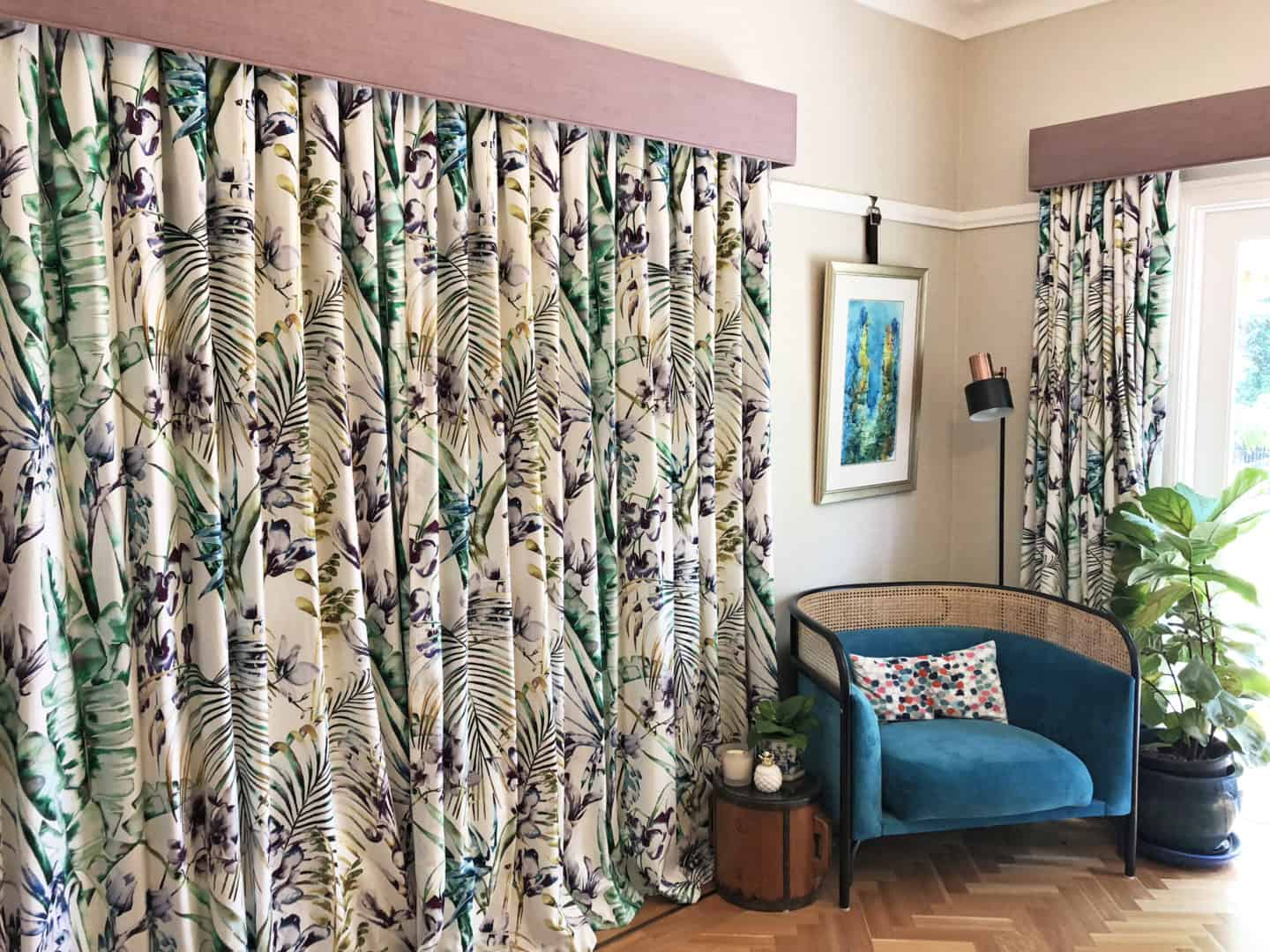 Patterned curtains with pelmets