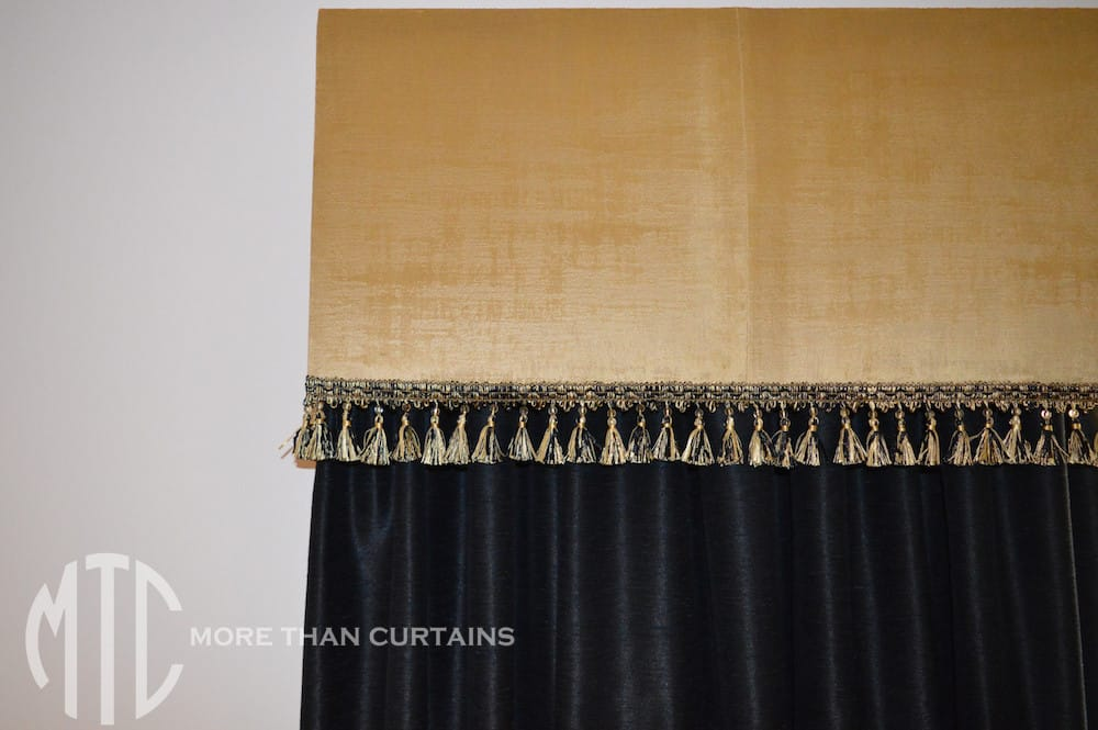 Black curtains with tassel fringe gold pelmet