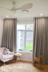 Grey s-fold curtains nursery