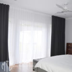 Grey & white s-fold curtains blockout and sheer - Jordan Springs