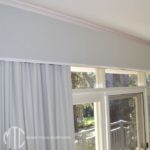 Blockout curtains Box pleat valance with contrast trim