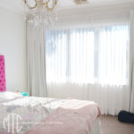 Box pleat white curtains & coordinating sheers